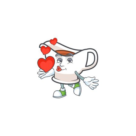 Gravy boat for dish with holding heart mascot. Vector illustration Çizim