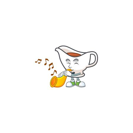 Gravy boat for dish with trumpet mascot. Vector illustration