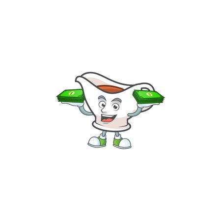 Gravy boat for dish with holding money mascot. Vector illustration 일러스트