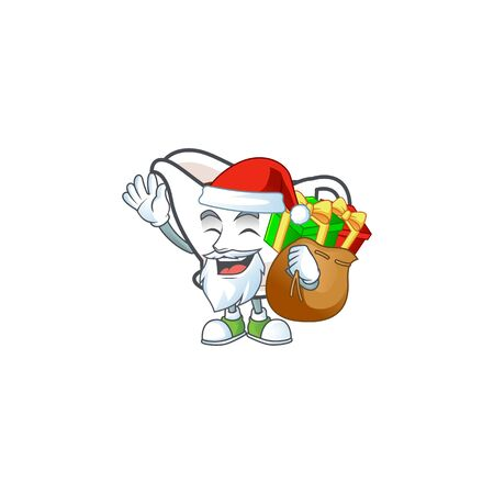 Gravy boat with character mascot shape santa bring gift vector illustration