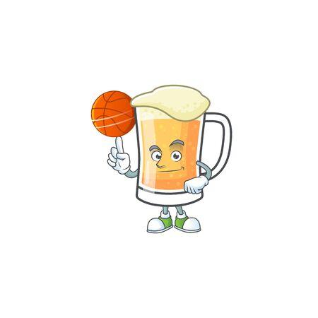 Cute mug of beer with holding basketball mascot. Vector illustration