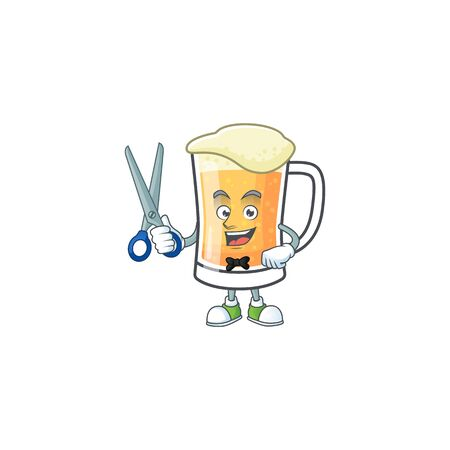 Cute mug of beer with barber mascot. Vector illustration