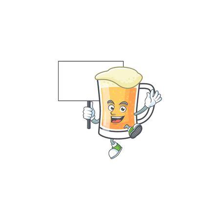 Cute mug of beer with bring board mascot. Vector illustration