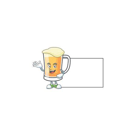 Cute mug of beer with board mascot. Vector illustration Ilustração