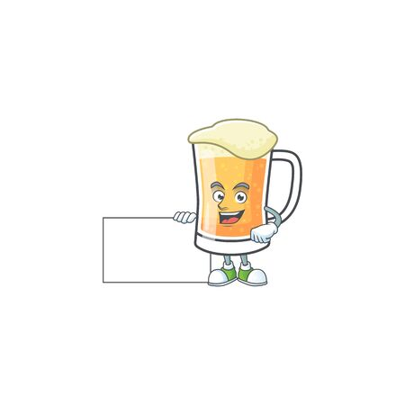 Cute mug of beer with grinning with board mascot. Vector illustration
