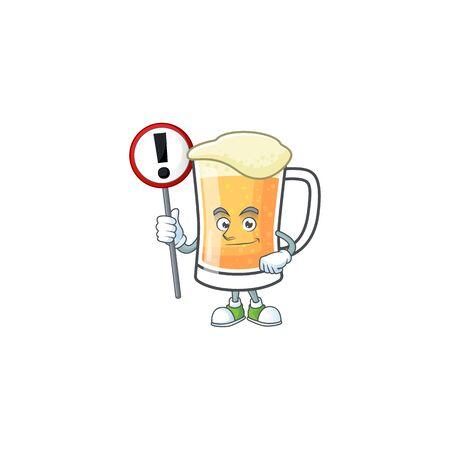Cute mug of beer with sign warning mascot. Vector illustration