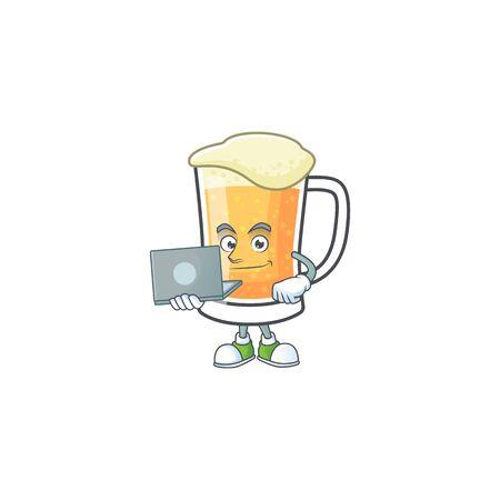 Cute mug of beer with bring laptop mascot. Vector illustration Ilustração