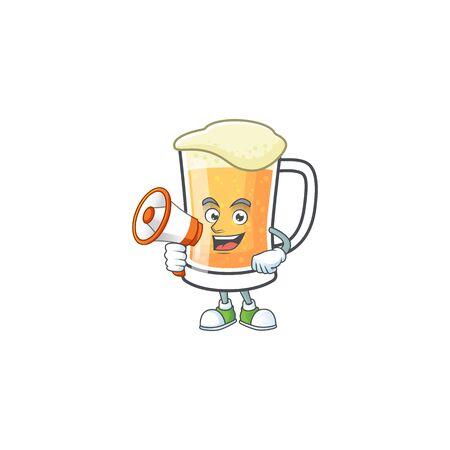 Cute mug of beer with holding megaphone mascot. Vector illustration Ilustração