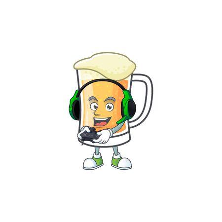 Cute mug of beer with bring gaming mascot. Vector illustration