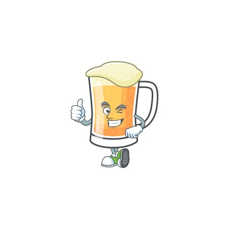 Mug of beer in a thumbs up character vector illustration