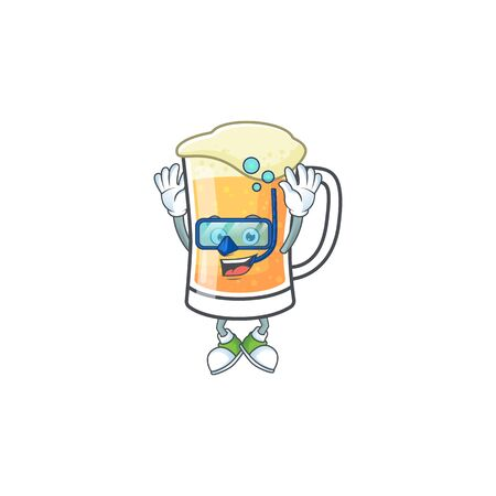 Mug of beer in a diving character vector illustration