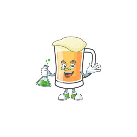 Mug of beer in a professor character vector illustration