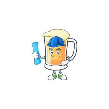 Mug of beer in a architect character vector illustration