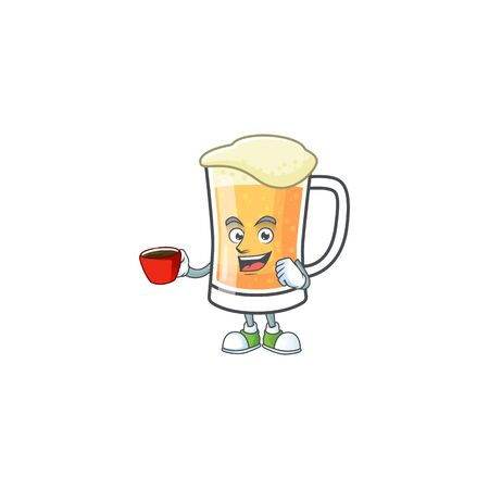Mug of beer in a drinking in cup character vector illustration Çizim