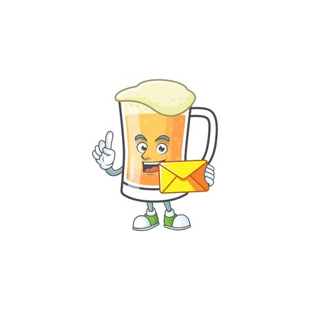 Mug of beer in a bring envelope character vector illustration
