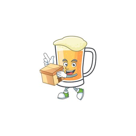 Mug of beer in a with bring box character vector illustration