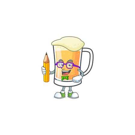 Mug of beer in a student holding pencil character vector illustration