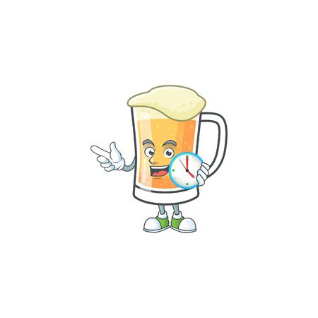 Mug of beer in a with bring clock character vector illustration