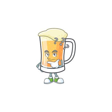 Mug of beer alcohol in thinking cartoon vector illustration Ilustracja