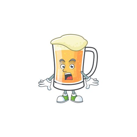 Mug of beer alcohol in surprised cartoon vector illustration