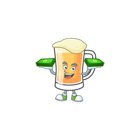 Mug of beer alcohol in holding money cartoon vector illustration
