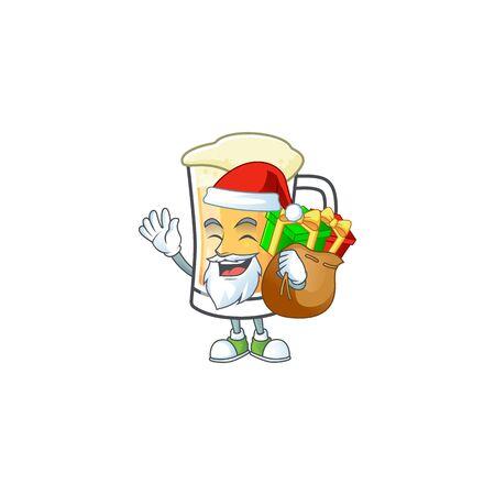 Cartoon a mug of beer santa bring gift mascot. Ilustracja