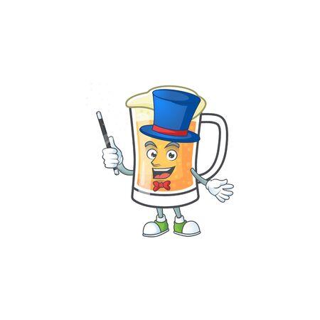 Cartoon a mug of beer magician mascot. Vector illustration Illustration