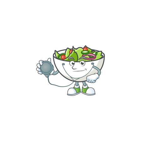 Salad in the a bowl doctor mascot vector illustration Ilustrace