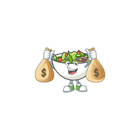 Salad in the a bowl holding money bag mascot vector illustration
