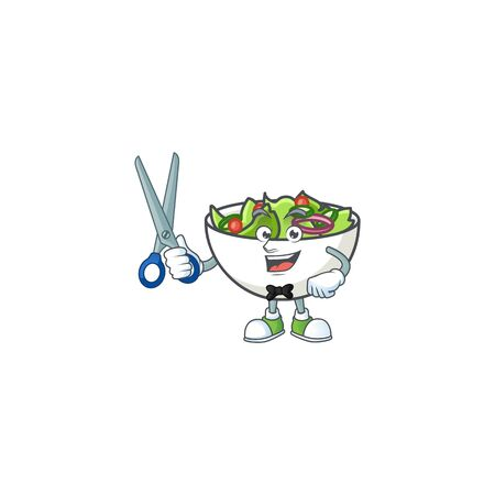 Salad in the a bowl barber mascot vector illustration