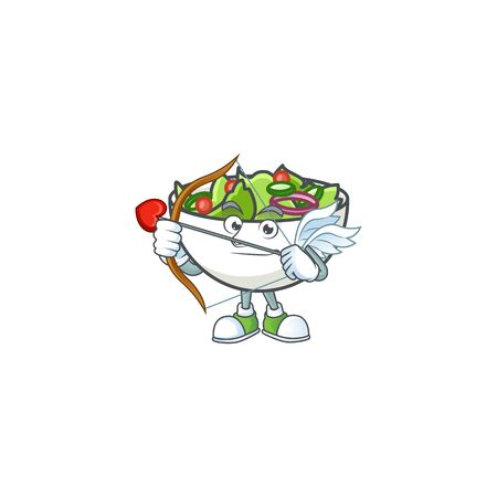 Salad in the a bowl cupid mascot vector illustration