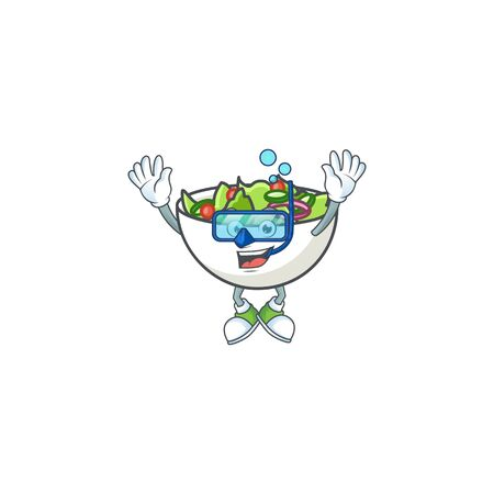 Salad of diving character in the cartoon vector illustration