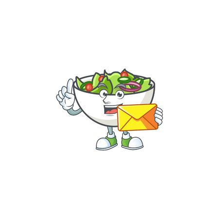 Salad of bring envelope character in the cartoon vector illustration