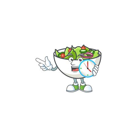 Salad of with bring clock character in the cartoon vector illustration
