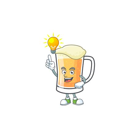 Cartoon a mug of beer have an idea mascot. Vector illustration