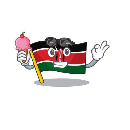 Flag kenya isolated with ice cream mascot on cartoon