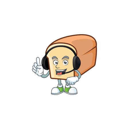 Cute bread isolated of cartoon character with headphone. Vector illustration