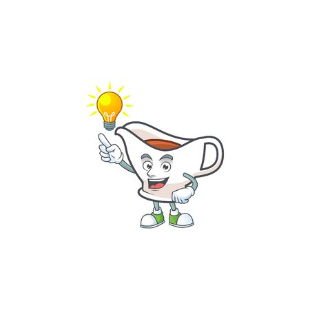 Gravy boat with character mascot shape have an idea vector illustration 일러스트