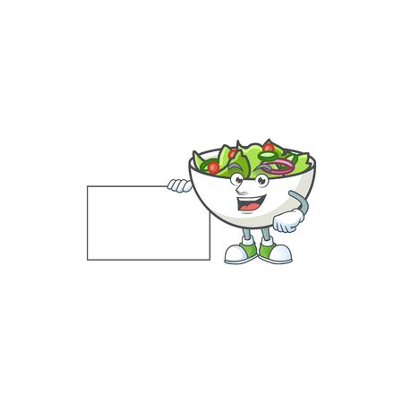 Salad in the a bowl grinning with board mascot
