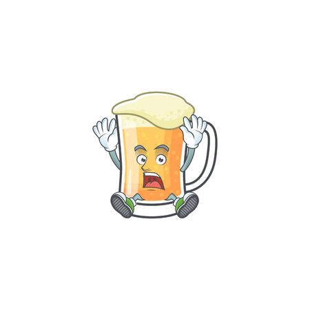 Mug of beer in a scream character vector illustration