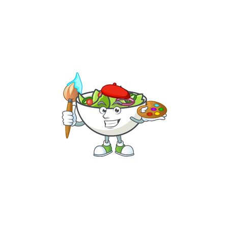 Salad in the a bowl painter mascot vector illustration