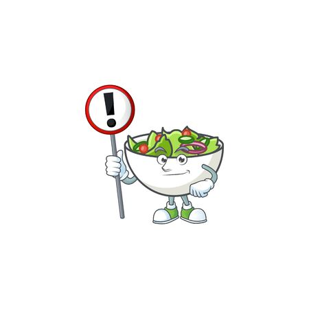 Salad in the a bowl with sign warning mascot vector illustration