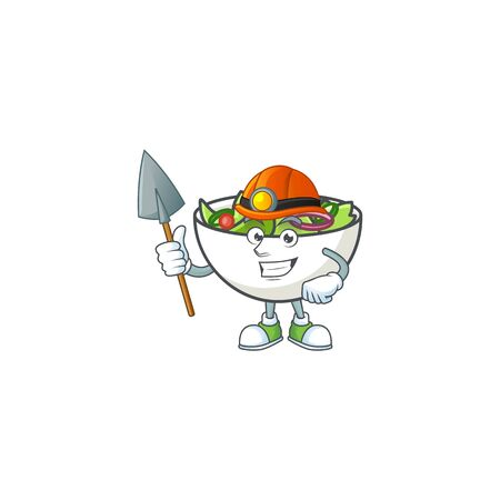 Delicious salad of the miner cartoon character