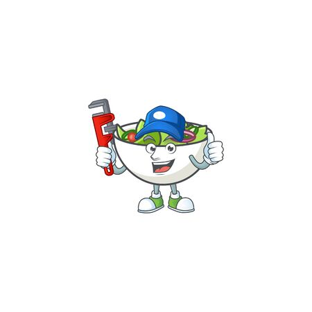 Character on plumber with cartoon fruit salad