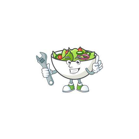 Mechanic mascot cartoon with tasty salad fruit Illustration