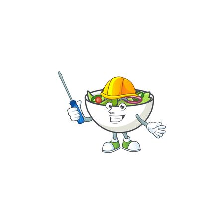 Fresh salad cartoon character with automotive mascot