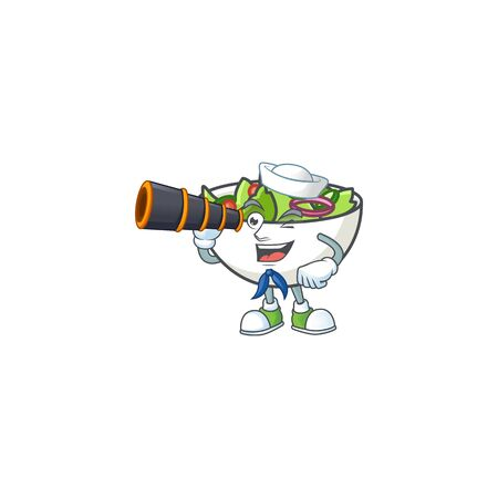 Delicious salad of the sailor holding binocular cartoon character vector illustration