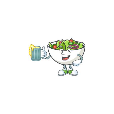 Delicious salad of the holding juice cartoon character vector illustration Ilustracja