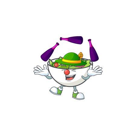 Fresh salad cartoon character with juggling mascot vector illustration