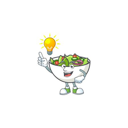 Fresh salad cartoon character with have an idea mascot vector illustration